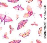 watercolor butterfly seamless... | Shutterstock . vector #544368931