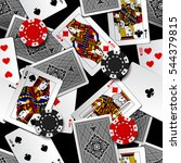 playing cards and casino chips... | Shutterstock .eps vector #544379815