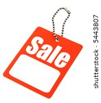 Sale tag with copy space isolated on white - stock photo