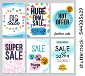 set of abstract hand drawn sale ... | Shutterstock .eps vector #544385629