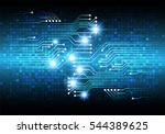 future technology  blue cyber... | Shutterstock .eps vector #544389625