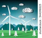 wind mills vector. flat design...   Shutterstock .eps vector #544398325