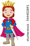 cartoon boy wearing prince... | Shutterstock .eps vector #544402891