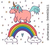 cute vector unicorn and rainbow ... | Shutterstock .eps vector #544403611