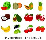 fruit collection set healthy... | Shutterstock . vector #544455775