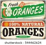 oranges vintage metal signs set ... | Shutterstock .eps vector #544462624