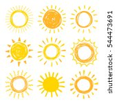 Funny Vector Doodle Suns. Hand...