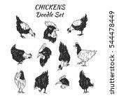 vector doodle chicken icon set. ...