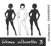 different women silhouettes.... | Shutterstock .eps vector #544498945
