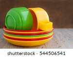 a set of plastic utensils.... | Shutterstock . vector #544506541