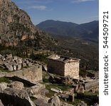 Small photo of Ancient Greek archaeological site of Delphi,Central Greece