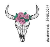 Bull Skull With Roses Native...