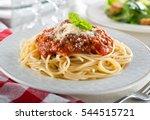a plate of delicious spaghetti... | Shutterstock . vector #544515721