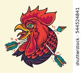 old school rooster head with... | Shutterstock .eps vector #544524841