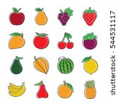 set of colorful fruit icons   Shutterstock .eps vector #544531117