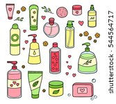 collection of hand drawn beauty ... | Shutterstock .eps vector #544564717