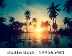 sunset on a tropical resort... | Shutterstock . vector #544565461