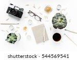 desk workspace with succulent ... | Shutterstock . vector #544569541