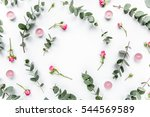 wreath frame with roses ... | Shutterstock . vector #544569589