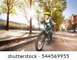 happy boy cycling on bicycle... | Shutterstock . vector #544569955
