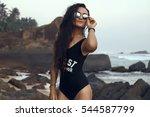 pretty fashion sport style... | Shutterstock . vector #544587799