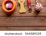Stock photo concept pet care and training on wooden background top view 544589239