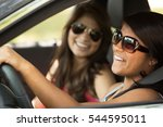 young women driving. teenage... | Shutterstock . vector #544595011