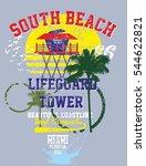 miami beach graphic design... | Shutterstock .eps vector #544622821