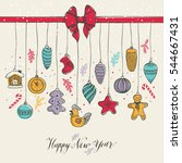 new year's toys hand drawn... | Shutterstock .eps vector #544667431