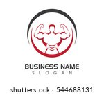 bodybuilder logo template.... | Shutterstock .eps vector #544688131