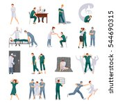 mental illnesses icons set with ... | Shutterstock .eps vector #544690315
