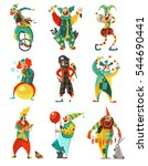 funny circus clowns isolated... | Shutterstock .eps vector #544690441