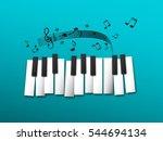 Piano Keys  Music Notes On Blu...