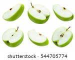 set of slice green apple on... | Shutterstock . vector #544705774