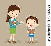 teacher helping pupil reading... | Shutterstock .eps vector #544723291