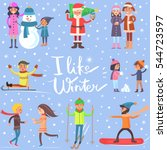 i like winter poster with... | Shutterstock .eps vector #544723597