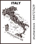 Italy map silhouette with regions names - tuscany, veneto and others, Hand drawn lettering illustration isolated on background. For wall decoration, travel guide, print. Typography infographic poster.