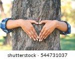 women hug big tree color of... | Shutterstock . vector #544731037