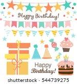 happy birthday set | Shutterstock .eps vector #544739275