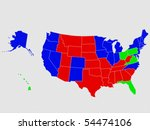 Usa map isolated on white background - stock photo