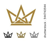 ornamental crown line logo... | Shutterstock .eps vector #544743544