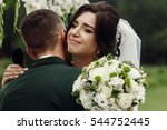 gorgeous emotional bride in... | Shutterstock . vector #544752445