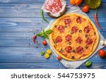 tasty pizza on blue wooden... | Shutterstock . vector #544753975