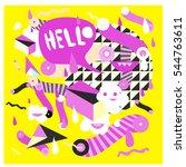 hipster crazy doodle monster... | Shutterstock .eps vector #544763611