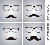 Glasses And Mustache Vector Se...
