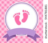 girl baby shower invitation card | Shutterstock .eps vector #544781881