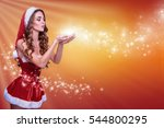 christmas girl blowing snow | Shutterstock . vector #544800295