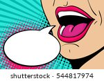 sexy open female mouth... | Shutterstock .eps vector #544817974