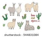 cute lama  alpaca and cactuses... | Shutterstock .eps vector #544831084