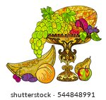 fruits and grape in a antique... | Shutterstock .eps vector #544848991